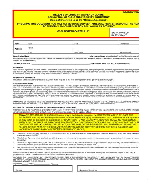 liability form template 11 liability waiver form templates pdf doc free