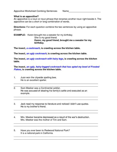 Appositive Worksheets by Appositive Phrases Worksheets Geersc