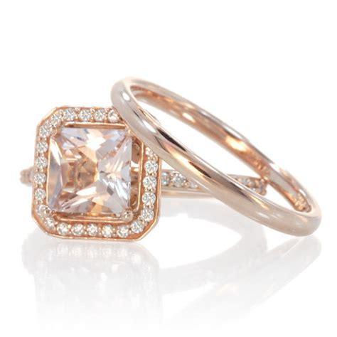cushion cut morganite engagement ring bridal set by samnsue