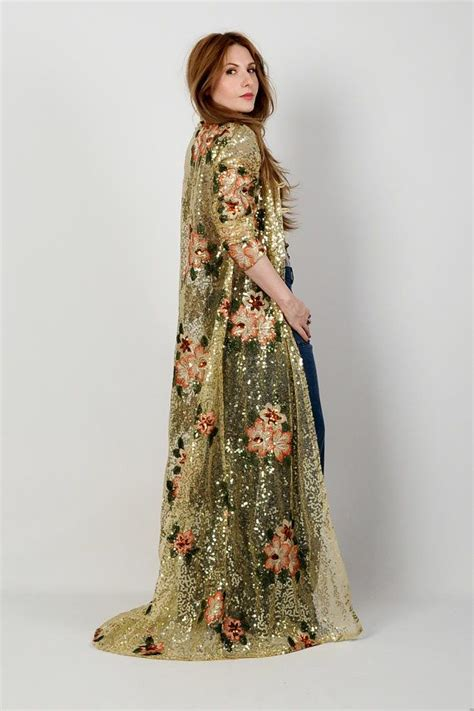Daster Kimono India sequin beaded embroidered maxi duster by tinroofvintage