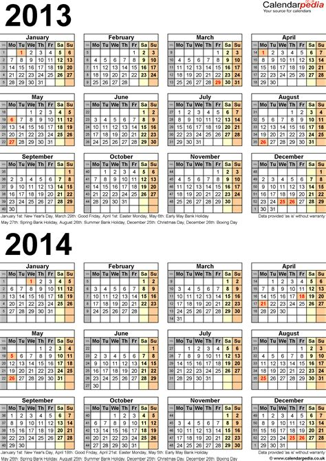 calendar 2014 uk template two year calendars for 2013 2014 uk for word