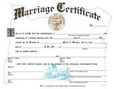 Oregon Marriage Records Search A Blank Oregon Marraige Certificate