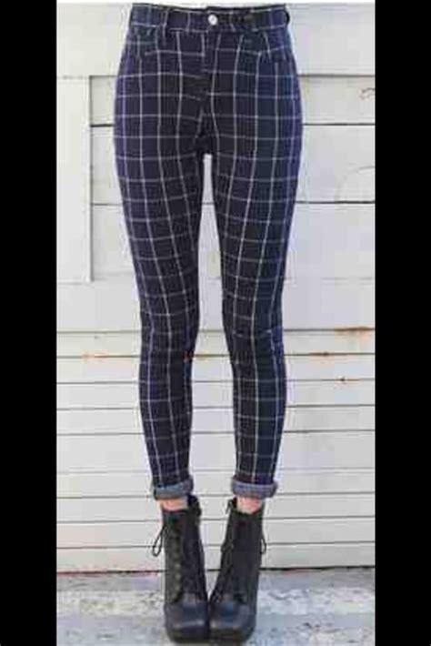 pattern pants tumblr pants panta square squares check pattern print blue