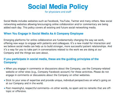 company social media policy template home healthcare social media policy for physicians and