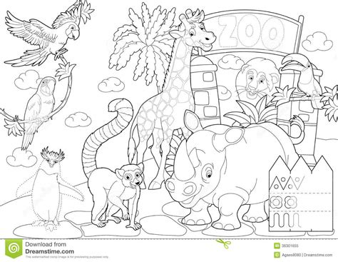 coloring pages of animals in the zoo coloring page the zoo illustration for the children