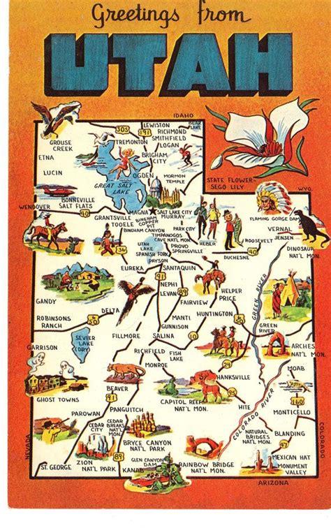 printable postcards florida utah state map postcard greetings from by