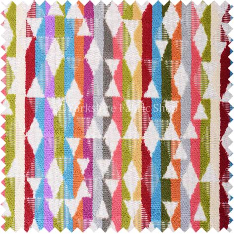 multi coloured upholstery fabric amazilia velvet collection multi coloured geometric