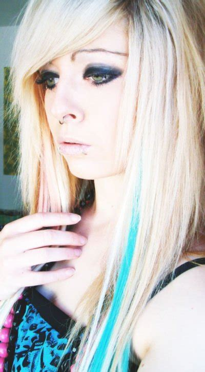 emo hairstyles blue and blonde blonde blue emo scene hair style site model girl bibi barbaric