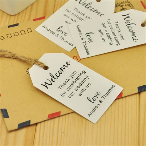 wedding tags 100pcs kraft paper personalized wedding tag welcome bag