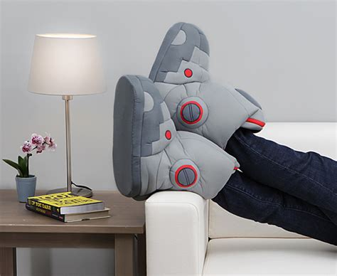 robot slippers with sound thinkgeek unleashes geeky booties that make your