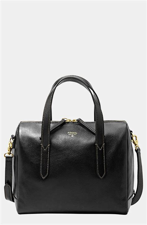 fossil sydney leather satchel in black lyst