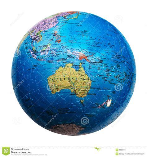 australia globe map globe puzzle isolated map of australia and oceania stock