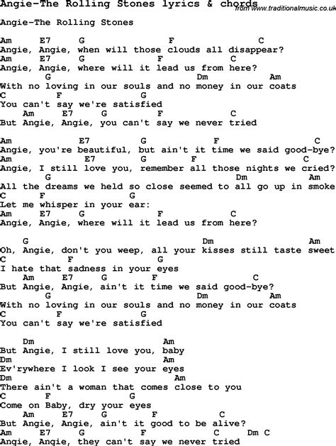 song lyrics and chords song lyrics for angie the rolling stones with chords