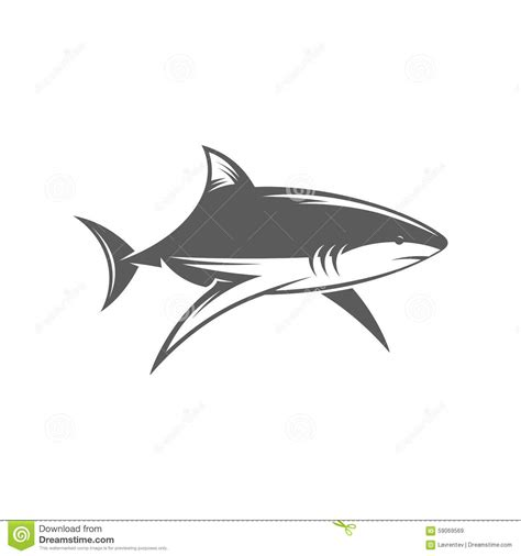 shark in water black and white vector illustration stock