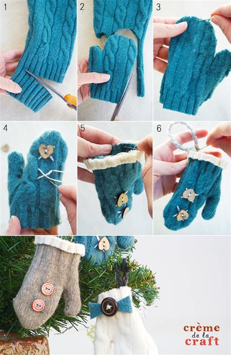 Easy Handmade Things - diy mini mitten ornaments from an sweater