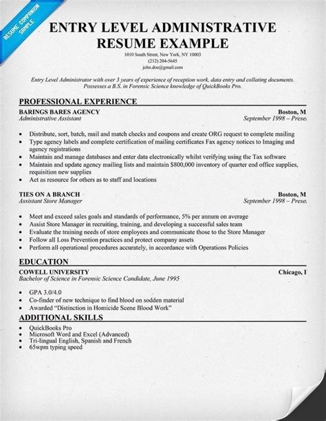 Entry Level Construction Worker Resume Sle entry level administrative assistant resume sle 28
