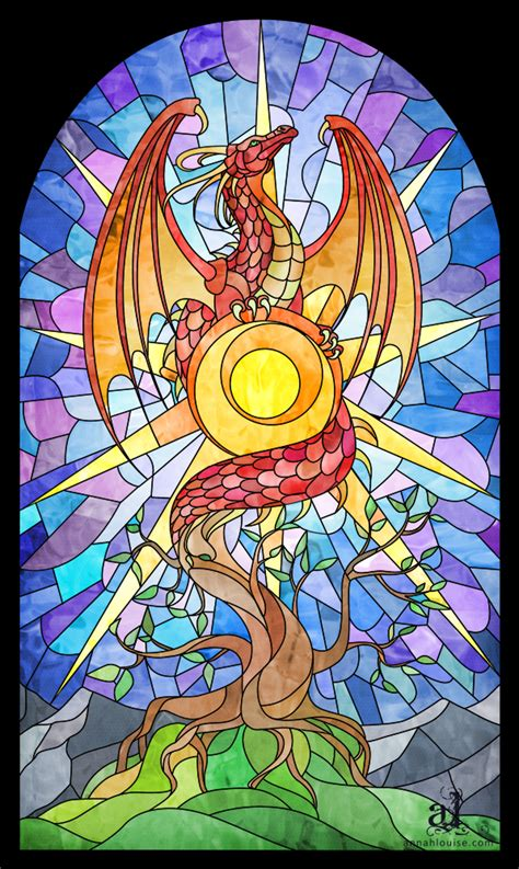 stained glass dragon by annah wootten by pearwood on