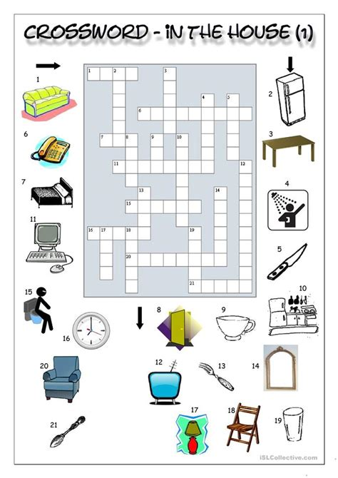 crossword in the house 1 worksheet free esl