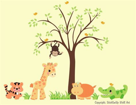 zoo animal wall stickers sweet baby zoo animals and tree wall decals