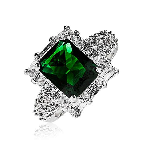 gatsby inspired emerald color cz engagement ring deco