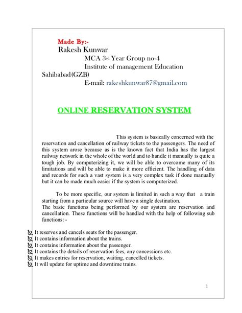 Reservation Letter For Ticket Railway Reservation Documentation