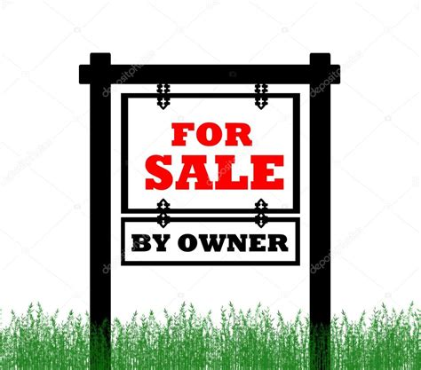 real estate home for sale sign by owner stock photo