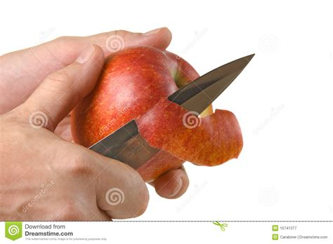 decorative apple cutting cutting peel an apple with a knife royalty free stock
