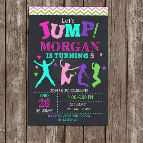 printable jump birthday invitations jump invitation girls birthday printable troline