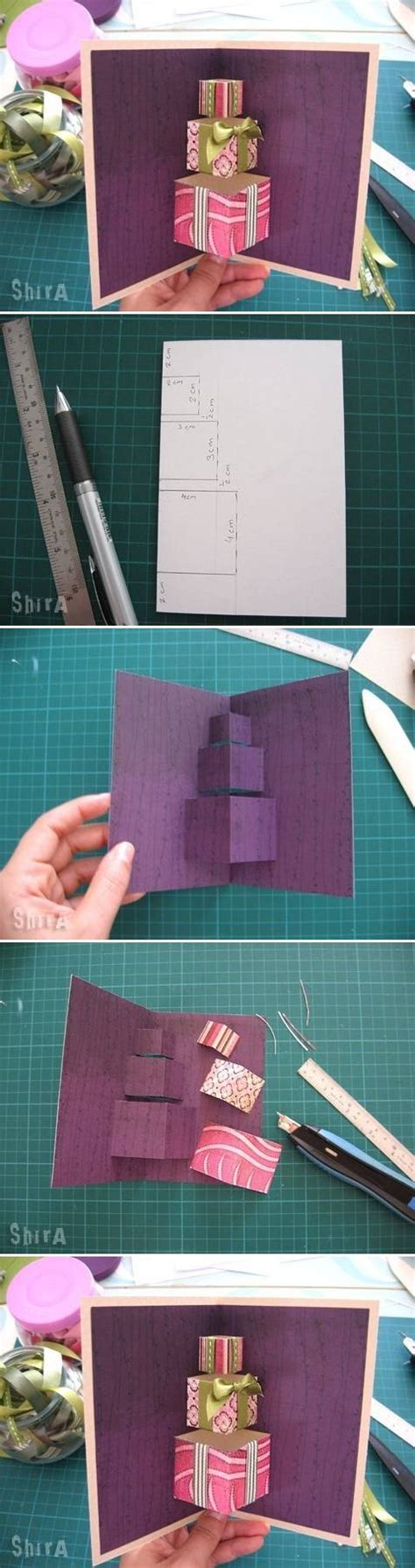 make 3d cards how to make simple 3d gift card step by step diy tutorial