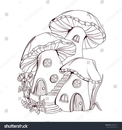 house line drawing images stock photos vectors shutterstock coloring book mushroom houses fairy tale stock vector