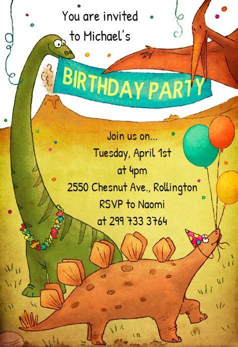 Dinosaur Birthday Invitation Template (Free)   Greetings