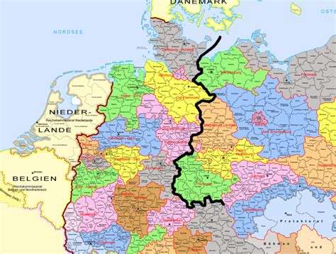 map of western germany did the division between east and west germany coincide