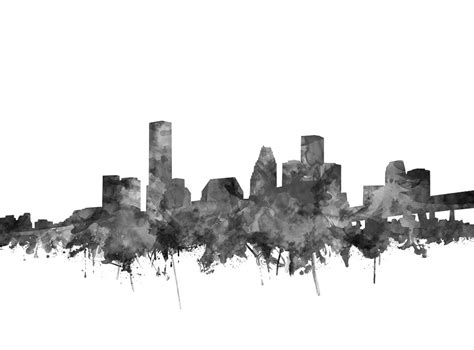 Houston Home Decor Houston Skyline Watercolor Black And White Painting By