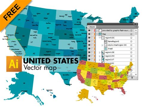 map usa vector 3 free vector maps of united states graphic flash sources