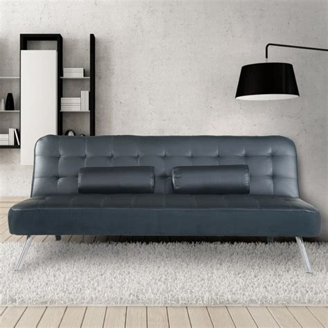Tufted Leather Sofa Bed by Adeco Black 3 Seat Faux Leather Tufted Futon Sofa Bed With 2 Cushsions Sf0012