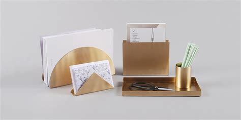 ferm living brass geometric desk accessory collection