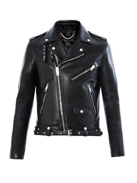 leather bike jackets for sale lyst burberry prorsum leather biker jacket in black for men