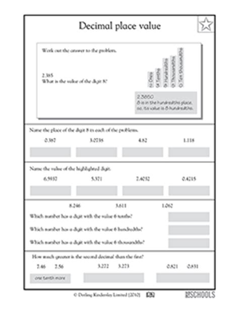 Decimal Place Value Worksheets 6th Grade by 5th Grade Math Worksheets Decimal Place Value To The Ten
