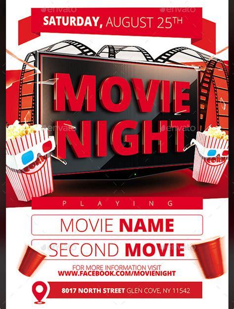 movie night flyer template 20 free jpg psd format