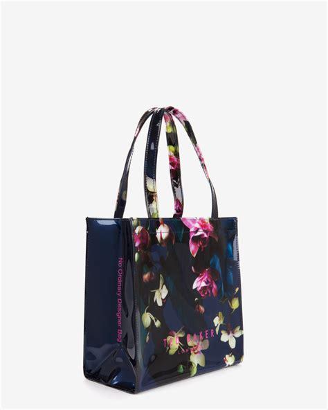 Floral Shopper Bag lyst ted baker small fuchsia floral shopper bag in blue