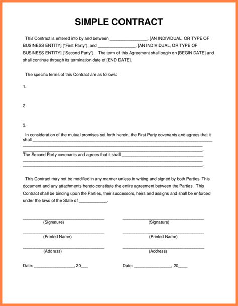 simple contract template 4 simple contracts cv template