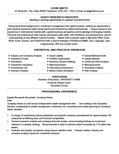 Research Associate Resume by Equity Research Associate Resume Template Premium Resume