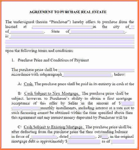 real estate purchase agreement template free printable purchase agreement real estate purchase