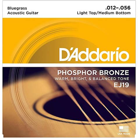 D Addario Ej19 Phosphor Bronze Bluegrass Medium Light Light Guitar Strings Vs Medium