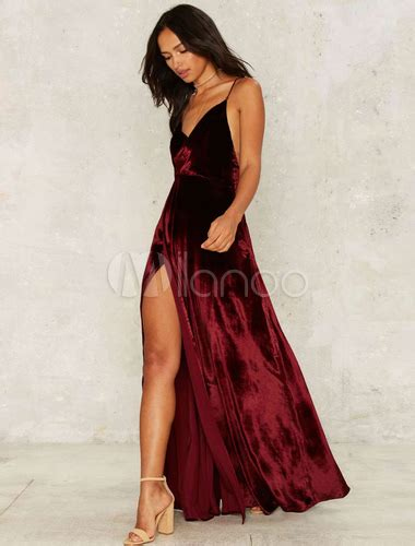 Dress Me Up In Velvet by Burgundy Dress Velvet Split Straps Cross Back Maxi