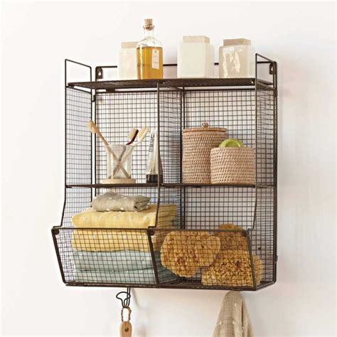 Hanging Bathroom Shelves Metal 4 Bin Wire Hanging Shelf Eclectic Display And Wall Shelves By Vivaterra