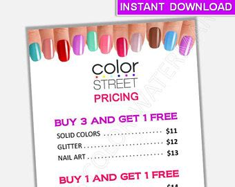 in color cookies in color price list color street nails pricing specials flyer poster