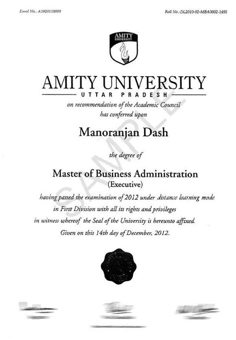 Amity Distance Learning Mba Question Papers by Annamalai Degree Certificate Sle Gallery