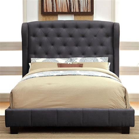 fabric bed frame queen queen size fontes gray wingback padded flax fabric bed frame