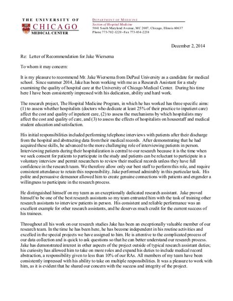 Recommendation Letter Med School Jake Wiersema Letter Of Recommendation School
